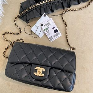 2021 Chanel Mini with chain & Leather Ruffle strap